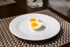Egg. On the white plate Stock Image