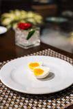 Egg. On the white plate Royalty Free Stock Image