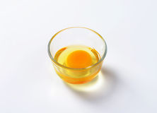 Egg white and yolk in glass bowl Stock Photography