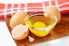 Egg white and yolk in glass bowl Stock Image