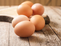Egg on wooden background Royalty Free Stock Image