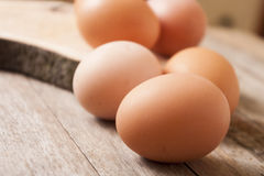 Egg on wooden background Stock Photo