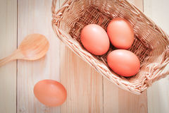 Egg and wooden spoon Royalty Free Stock Photos