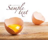 Egg on a wooden table. Egg on a wooden background, breakfast Stock Photography