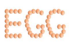 EGG word from eggs for food or nutrition concept Royalty Free Stock Image