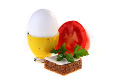 Egg in a yellow support Stock Photo