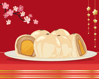 Egg yolk cake. An illustration of egg yolk cake from taiwan on a white plate with whole and halves showing the filling on a red and gold background with pink Royalty Free Stock Images