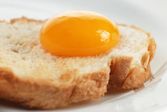Egg yolk on crusty bread Stock Photos