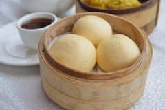 Custard bun dim sum. Egg yolk custard bun dim sum royalty free stock image