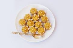 Egg yolk dumpling. Asia - Asian eating food, Thai dessert, Ja Mongkut is the name of Egg Yolk Dumpling in Wheat Flour. Made from wheat flour, egg, sugar, coconut Stock Photos