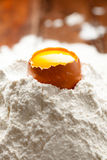 Egg with Yolk on Flour Royalty Free Stock Images