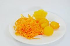 Egg yolk golden Thai sweet dessert Royalty Free Stock Images