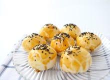 Egg-Yolk Puff. Crispy cake  yellow tasty food delicious Stock Photos