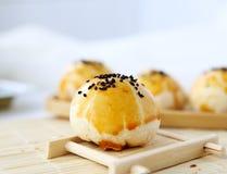 Egg-Yolk Puff. Crispy cake  yellow tasty food delicious Stock Images