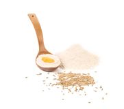 Egg yolk in spoon with flour. Royalty Free Stock Photography