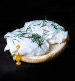 Eggburger, moody photo. Eggburger with poached eggs, moody photo royalty free stock image