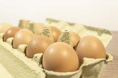 Egge, dziesięć brown jajek w kartonu pakunku na drewnianym stole Obrazy Stock