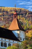 Eggenberg castle's tower in autumn colors Royalty Free Stock Images
