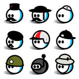 Egghead people with hats. Egghead people on various hats Royalty Free Stock Images