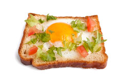 Eggie bread on white background royalty free stock photography