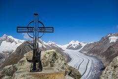 Eggishorn - cima del ghiacciaio di Aletsch, Svizzera Immagine Stock Libera da Diritti