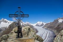 Eggishorn - Spitze des Aletsch-Gletschers, die Schweiz Lizenzfreies Stockbild