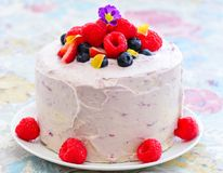 Eggless summer berry fruit cake. Summer fruit cake with edible flowers, whipped cream raspberries and blue berries royalty free stock image