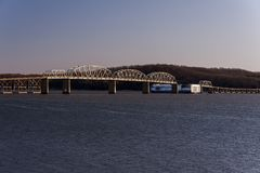 Eggner`s Ferry Bridge Collapse - Kentucky Lake, Kentucky. A morning view of the Eggner`s Ferry Bridge after a freight boat collided with the center Pratt through Stock Photos