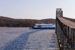 Eggner`s Ferry Bridge Collapse - Kentucky Lake, Kentucky. A morning view of the Eggner`s Ferry Bridge after a freight boat collided with the center Pratt through Stock Image