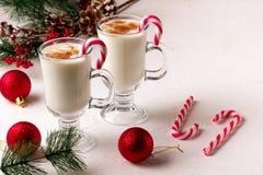 Eggnog рождества в стеклянных кружке и циннамоне стоковое фото rf
