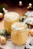 Homemade Eggnog, traditional Christmas drink served with  nutmeg Stock Photos