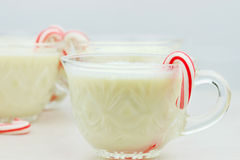 Eggnog and Candy Canes. Delicious eggnog with mini candy canes. Shallow DOF with selective focus on cup in foreground Royalty Free Stock Images