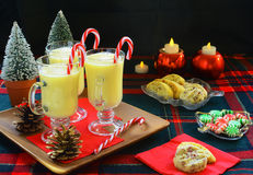 Eggnog and Christmas cookies Stock Image