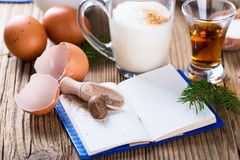 Eggnog  for Christmas, ingredients on rustic wooden table, recip Royalty Free Stock Photos