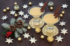 Eggnog at Christmas stock photos