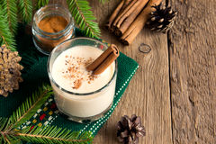 Eggnog with cinnamon Royalty Free Stock Photo