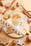 Eggnog with cinnamon Stock Images