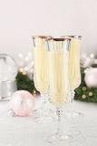 Eggnog in Fluted Crystal Glasses Stock Photos