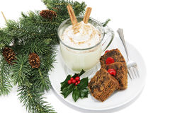 Eggnog & Fruitcake Royalty Free Stock Images