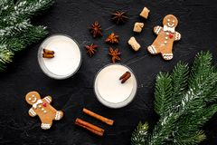 Eggnog, gingerbread cookie with cinnamon and spruce for new year 2018 celebraton winter set. Black background top view Royalty Free Stock Image