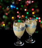 Eggnog and Holiday Lights Stock Image