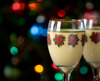 Eggnog and Holiday Lights Stock Photos