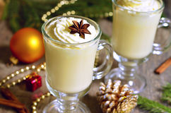 Eggnog -  hot christmas drink. Stock Photo