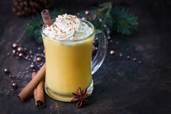 Eggnog With Whipped Cream Stock Photos
