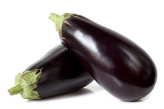 Eggplant. Two large eggplant, over white background Royalty Free Stock Images