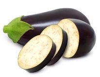 Free Eggplant And Slices Isolated On A White Background. Royalty Free Stock Photography - 113722707