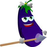Eggplant as native holding a spear Royalty Free Stock Images