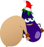 Eggplant as Santa Claus with a big sack Stock Images