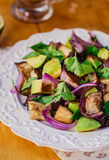 Eggplant (Aubergine) and Avocado Salad Stock Images