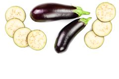 Eggplant or aubergine isolated on white background with copy space for your text. Top view. Flat lay pattern Royalty Free Stock Photos